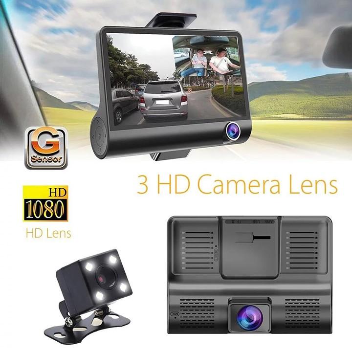 [Tặng thẻ Nhớ 16GB] Camera hành trình ô tô 3 mắt camera, màn hình 4 inh full HD, ghi hình đa chiều