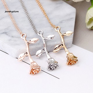 Women Fashion Rose Flower Pendant Chain Necklace Valentines Day Jewelry Gift