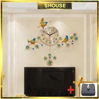 Đồng hồ treo tường chim én vàng SHOUSE A51 tặng máy đồng hồ kim trôi