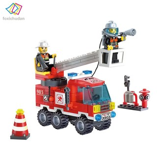 FCD 130pcs/set Fire Fighting Truck DIY Building Blocks Toy Children Educational Puzzle Brinquedos Gifts