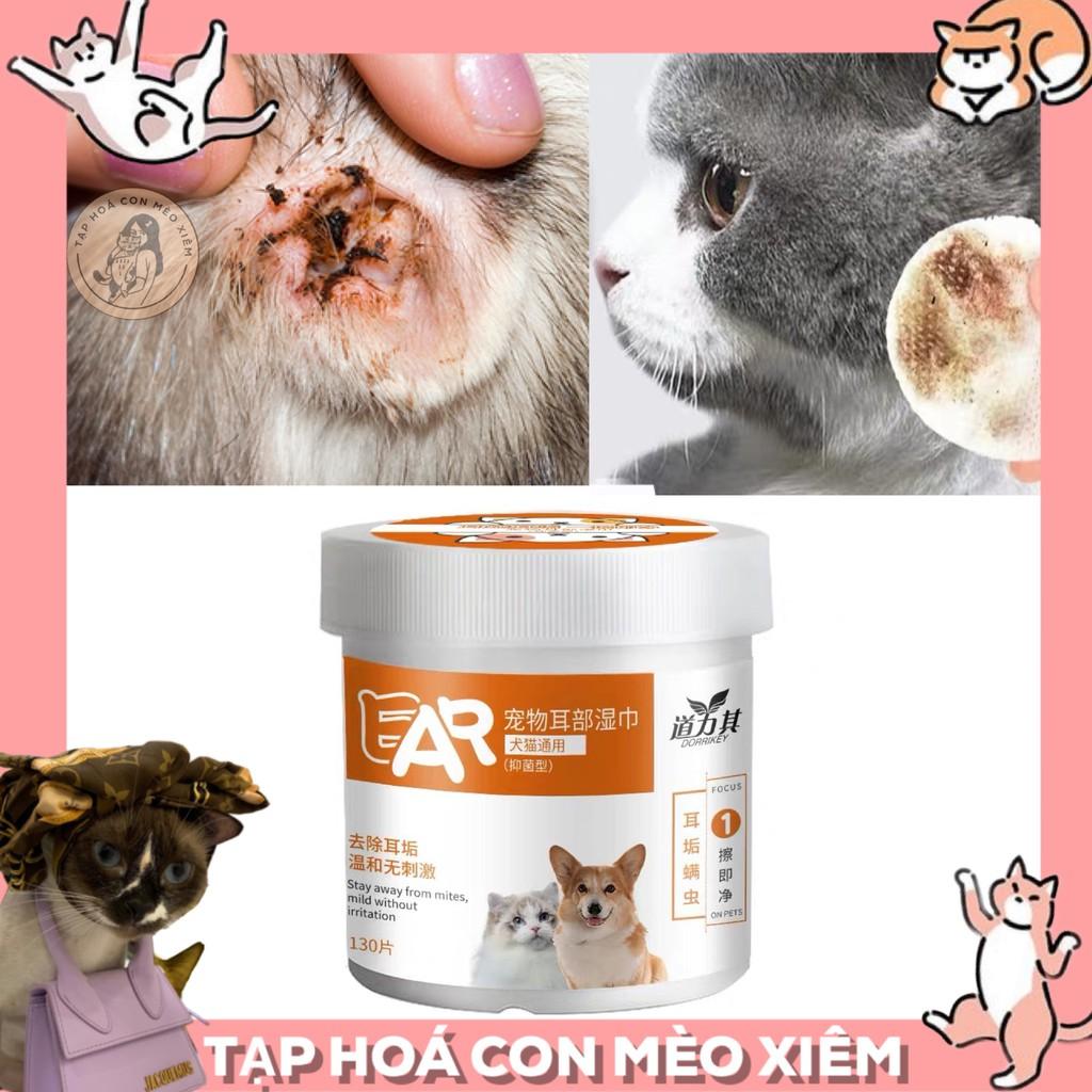 [SẮP VỀ] Bông Khăn Giấy Lau Tai Cho Chó Mèo dịu nhẹ 130 miếng 1 hộp phóng chống ve rận tai