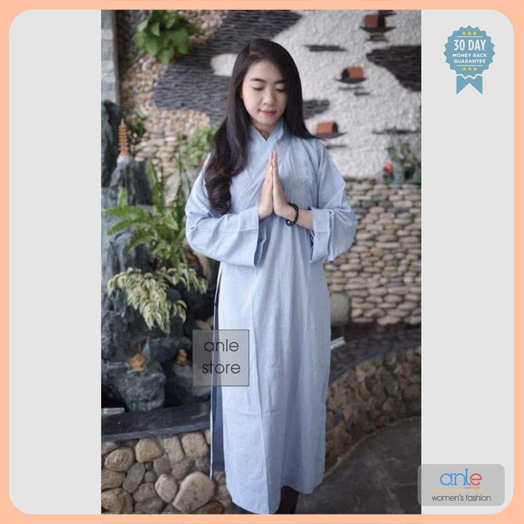 Áo Tràng Phật Tử vải Kate mịn bộ đồ lam đi chùa giản dị cho các khóa tu sinh - Anle Store