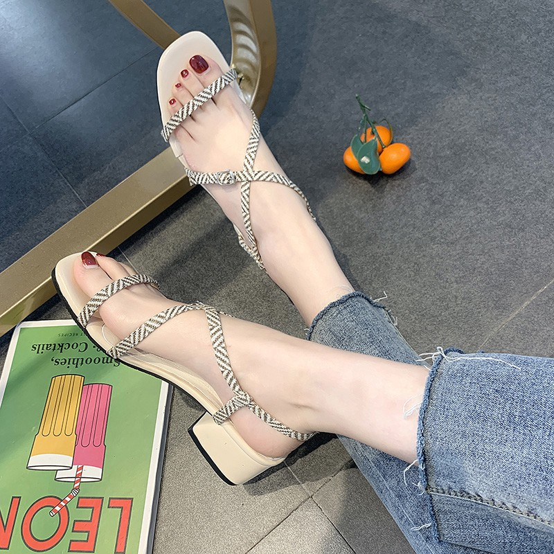 Roman Open-toed Sandals Girl 2019 Fairy Wind Cross-strapping