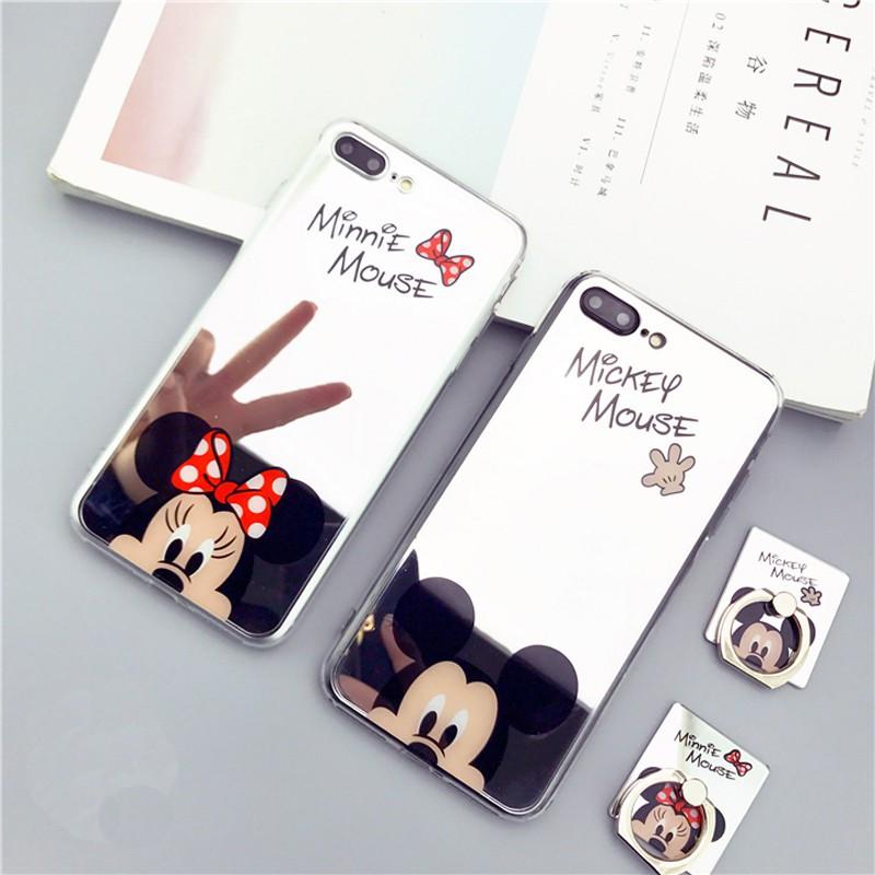 Ốp lưng hình Mickey/Minnie/Hello Kitty cho IPhone 6 6S 7 8 Plus X