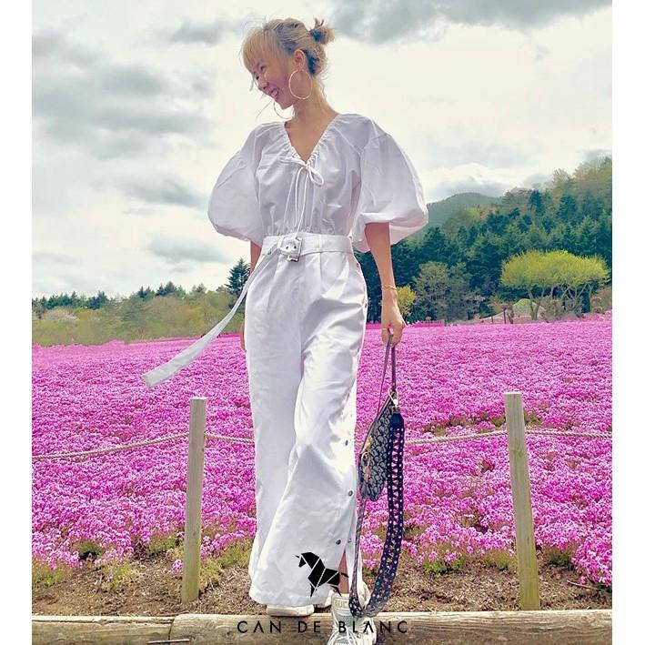 Jumpsuit trắng nữ kèm bell Can De Blanc
