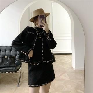 Sét áo dạ - chân váy A phối xích BY AUGUST DESIGN thumbnail