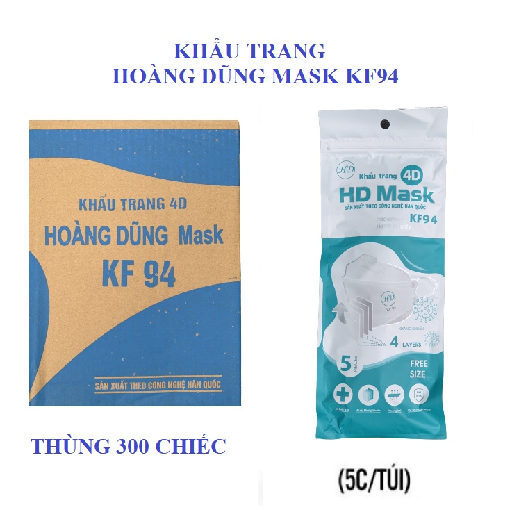 THÙNG 300 CHIẾC KHẨU TRANG KHÁNG KHUẨN NGĂN KHÓI BỤI 4D HOÀNG DŨNG MASK KF94    Shopee Việt Nam
