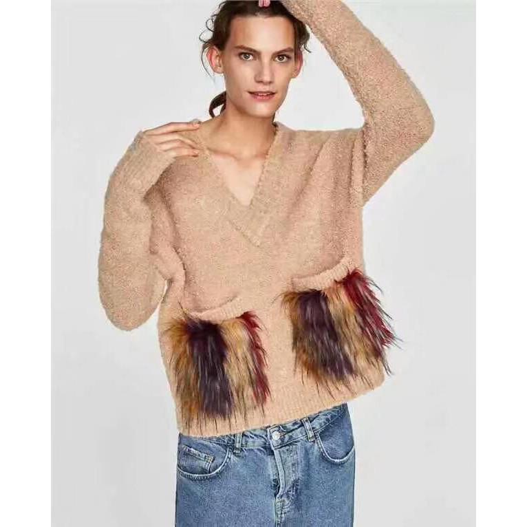 Áo len túi lông Zara cổ chữ V