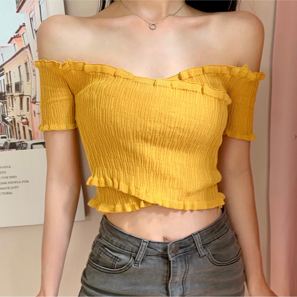 IELGY Off-the-shoulder crop top with fungus collar