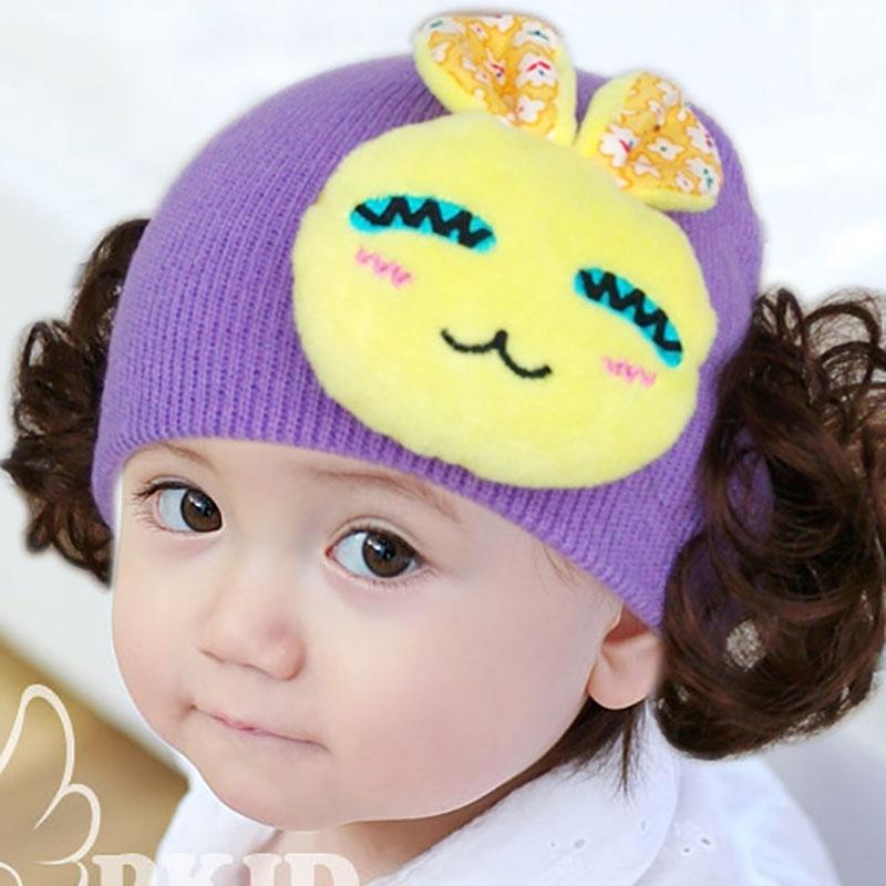 Nón len đội đầu gắn trang trí 2 chùm tóc giả uốn xoăn đáng yêu cho bé gái