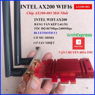 Card wifi AX200 có tản nhiệt – Card wifi intel máy tính PC kèm bluetooth 5.0 – wifi6 và MU MIMO