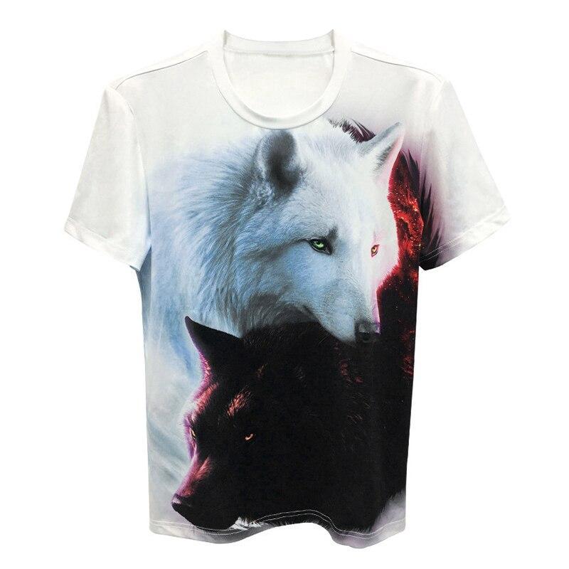 Áo thun nam cổ tròn tay ngắn in hình vẽ sói đen và sói trắng 3D