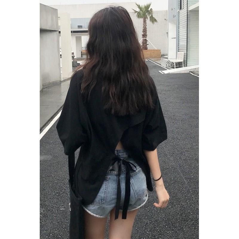 Áo thun nữ cổ tròn thắt nơ sau lưng kiểu mới ngắn tay dễ thương, sexyy   BigBuy360