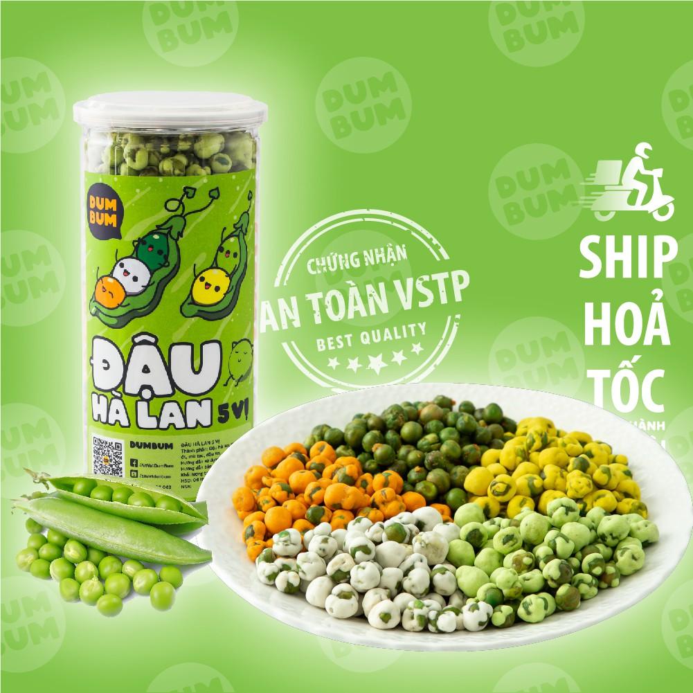 đậu hà lan 5 vị wasabi, phô mai, tỏi ớt, sữa, rau củ dumbum, đồ ăn vặt 450g