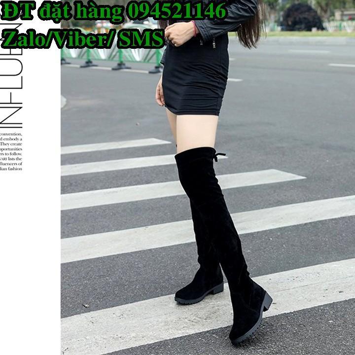 C120 Giày bốt nữ cao cổ buộc dây