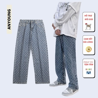 Quần Jeans nam ống rộng  In Họa Tiết Phong Cách Hàn Quốc Size S-3Xl Cho Nam