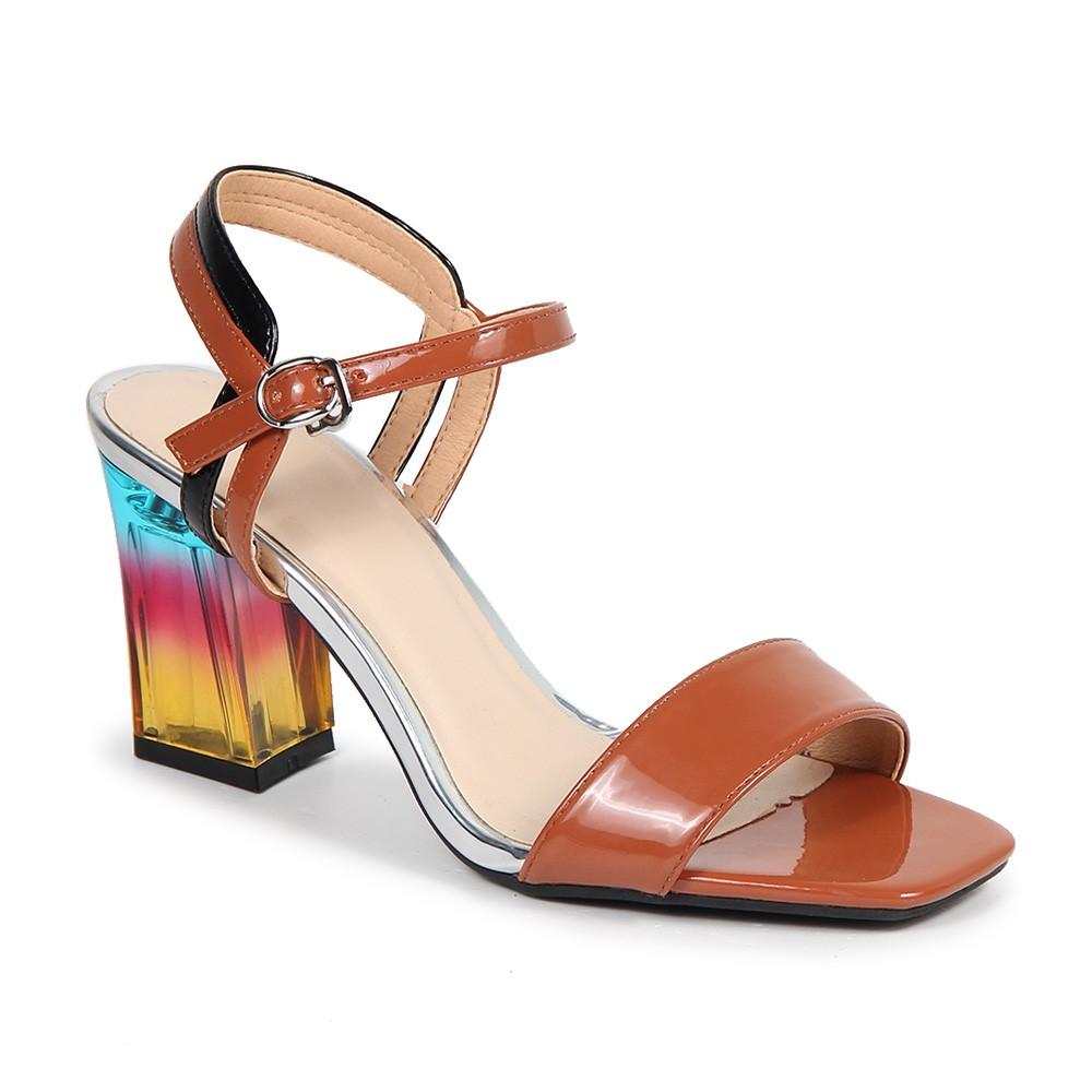 Giày xăng đan gót vuông nhiều màu lấp lánh S07013 - Nâu