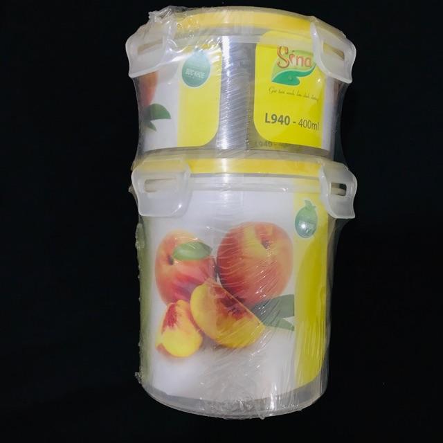 Set 2 hộp nhựa thực phẩm sina 800ml và 400ml