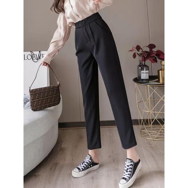 Mặc gì đẹp: Sang trọng với Quần tây công sở nữ lưng cao - kiểu dáng quần baggy - ống đứng chất vải tuyết mưa màu đen - 2 khuy lệch