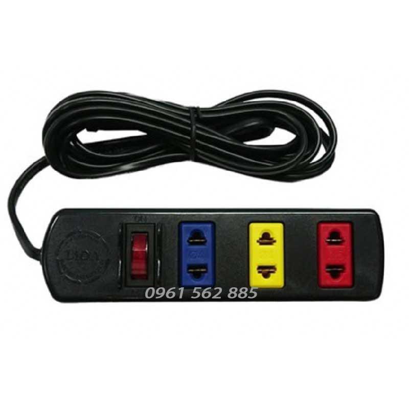 Ổ cắm LiOA 3TS5 Dây dài 5m màu đen-Ổ cắm phổ thông 3 lỗ 2 chấu -Có công tắc -MAX 1000W