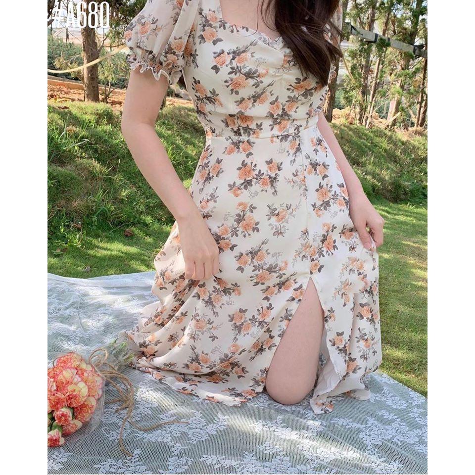 Mặc gì đẹp: Cuốn hút với Đầm hoa nhún ngực tay phồng xẻ tà