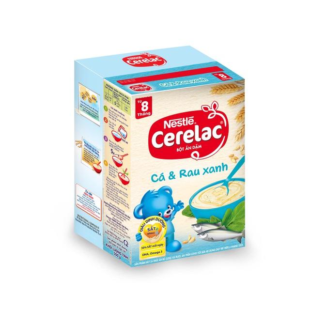 [Tặng kèm yếm ăn dặm trị giá 60k] Bột Ăn Dặm Nestle Cerelac - Cá Và Rau Xanh (200g)