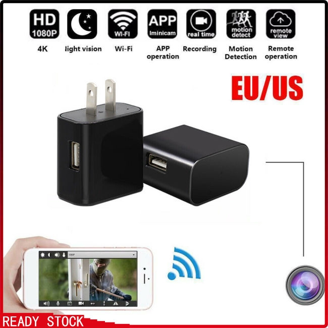Mini WIFI 4K Camera Wall Charger Wireless USB Nanny Night Vision Camera Giá chỉ 590.100₫