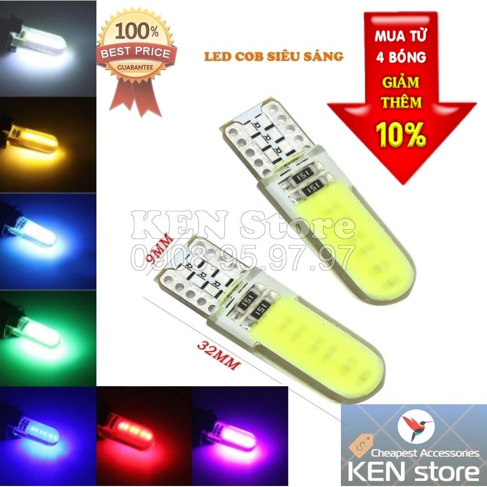 Bóng LED T10 đèn xi nhan, đèn demi xe máy ô tô chip COB