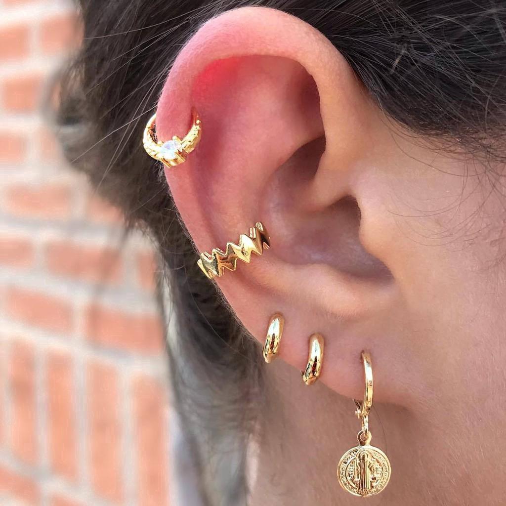 Bộ 5 bông tai màu vàng phong cách Boho cổ điển thời trang cho nữ
