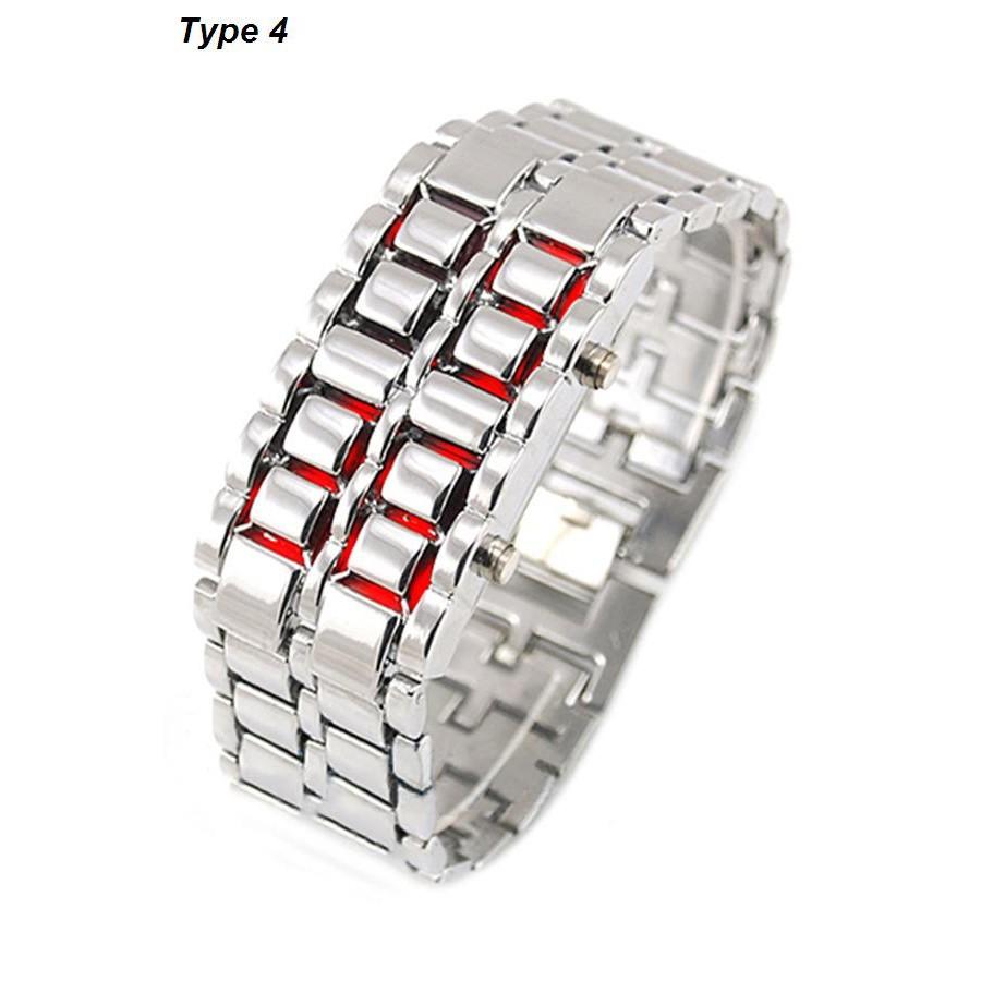 Đồng hồ không mặt đèn LED bằng kim loại độc đáo cho nam/nữ