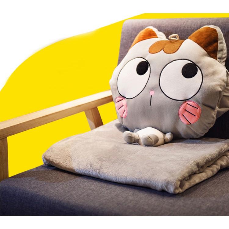 Bộ chăn gối văn phòng hình thú (chat chọn màu) - Chăn gối dễ thương cho dân công sở