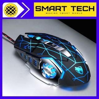 CHUỘT GAMING T-WOLF V6. Chất liệu nhựa ABS + Thép không gỉ. Siêu nhạy, độ bền cao, LED 7 màu, thiết kế đẹp cho GAMERS.