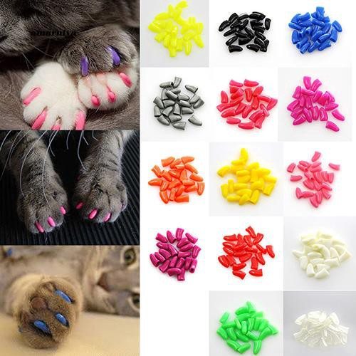 AMA♥20Pcs Soft Silicone Pet Dog Cat Kitten Paw Claw Control Sheath Nail Caps Covers