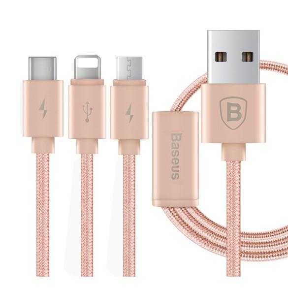 Cáp dù sạc nhanh 3 trong 1 Type-C - Micro USB - Lightning Baseus (Mầu Vàng Hồng) - 3049330 , 346830284 , 322_346830284 , 99900 , Cap-du-sac-nhanh-3-trong-1-Type-C-Micro-USB-Lightning-Baseus-Mau-Vang-Hong-322_346830284 , shopee.vn , Cáp dù sạc nhanh 3 trong 1 Type-C - Micro USB - Lightning Baseus (Mầu Vàng Hồng)