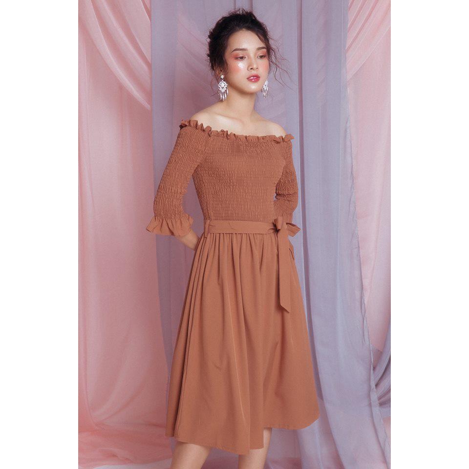 Váy quây sun ngực có thắt lưng 69V01
