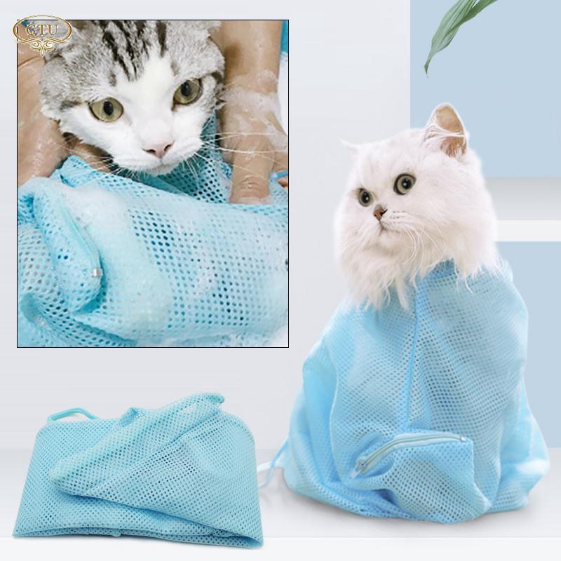 CR Cat Bath Bag Pet Grooming Bag 54*36cm Polyester Fiber Fitted Mesh Picking Ears Creative
