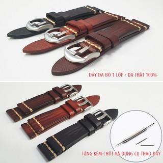 Dây da đồng hồ nam, da bò thật một lớp phong cách cổ điển, tặng kèm chốt và dụng cụ tháo dây - D2017