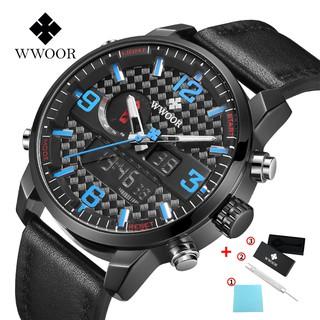 WWOOR Men's watch chronograph outdoors sport watches fashion leather watchs waterproof quartz wristwatch 8859