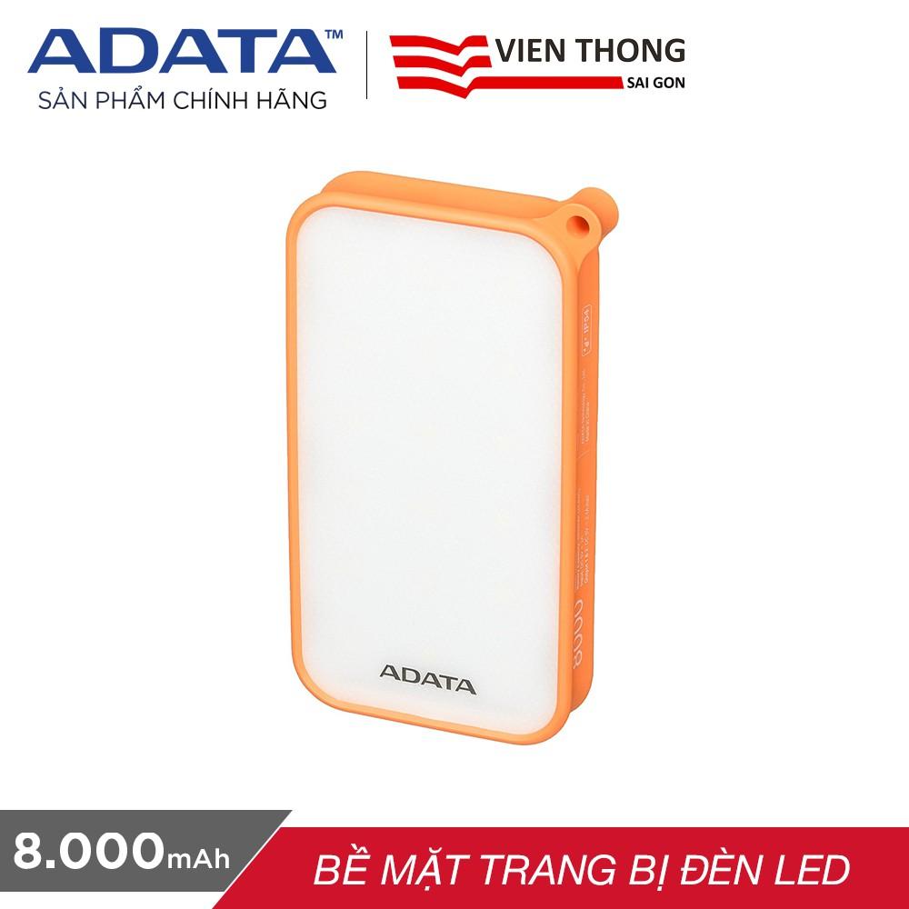 Pin sạc dự phòng 8000mAh ADATA D8000L (Cam) - Hãng phân phối chính thức