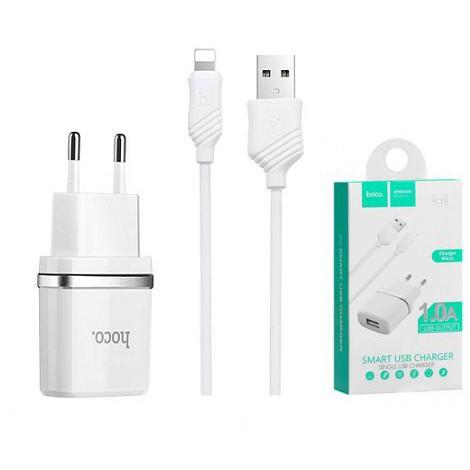 Bộ cáp và cốc sạc Hoco C11 1A - cổng Lighting (Trắng) - Chính Hãng - Cho các dòng iPhone
