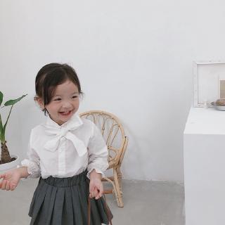 Áo sơ mi tay dài thắt nơ nữ tính đáng yêu hợp thời trang cho bé gái