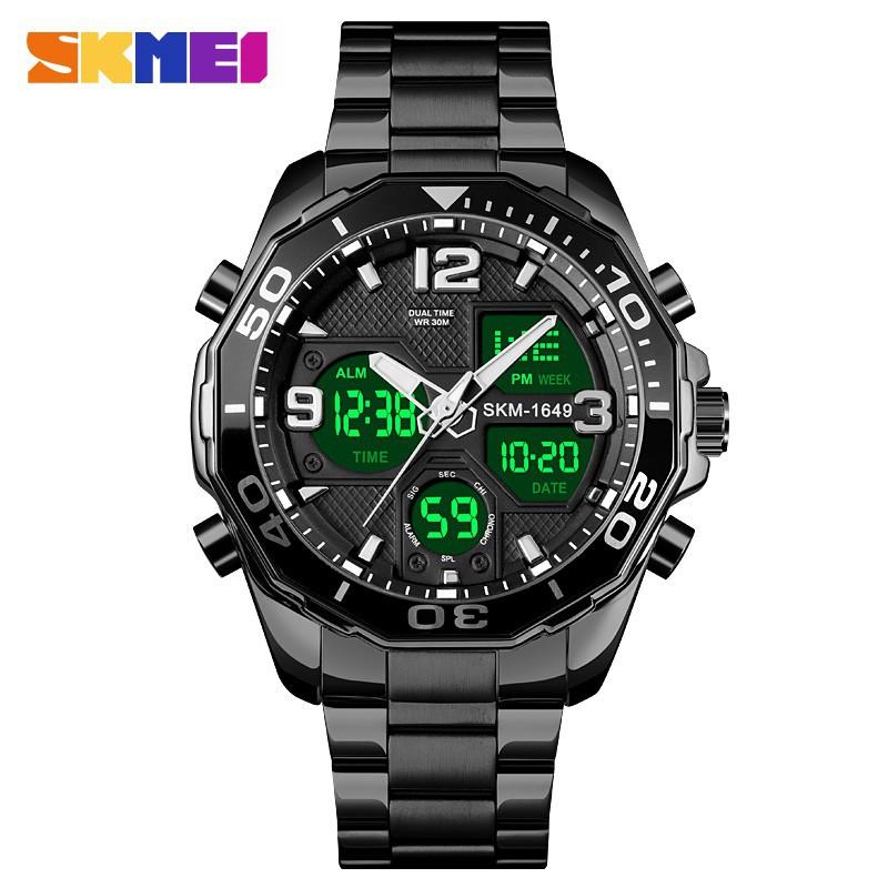 SKMEI 1649 Fashion Men's Watch Digital Sports Chronograph Waterproof Stainless Steel Strap