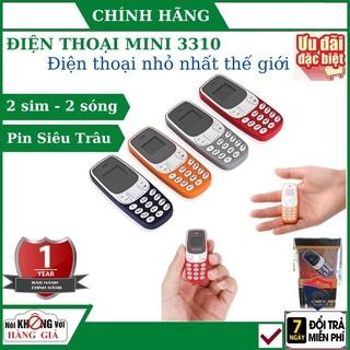 Điện thoại siêu nhỏ mini 3310 2 sim 2 sóng cực khỏe, hỗ trợ nghe nhạc mp3,giả giọng,thay thế tai nghe bluetooth thumbnail