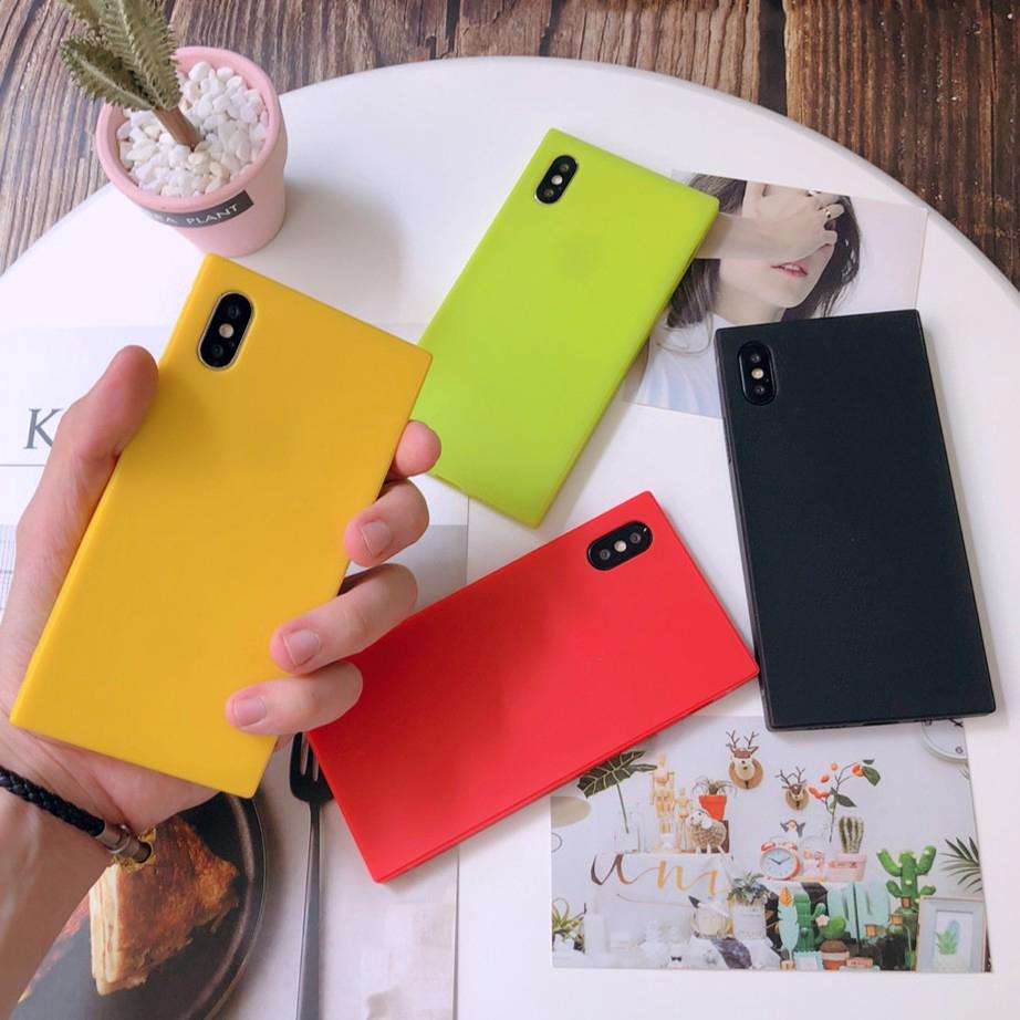 Ốp lưng TPU silicone mềm hình vuông màu kẹo ngọt cho IPhone XS 6S 8 7 Plus