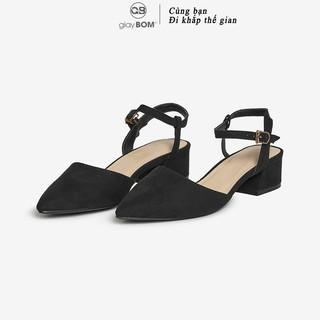 Giày Cao Gót giayBOM Cao 4 cm Da Nỉ Khóa Cài Cổ Chân GB00109 thumbnail