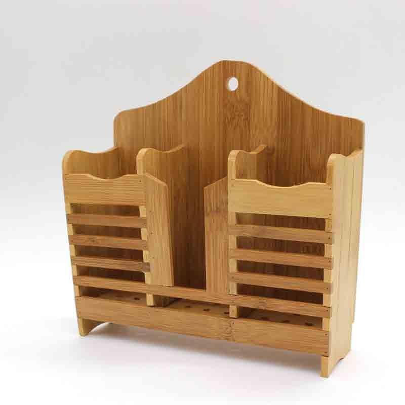 Giá đựng thìa đũa bằng gỗ tre tự nhiên  phong cách vintage, thoát nước nhanh
