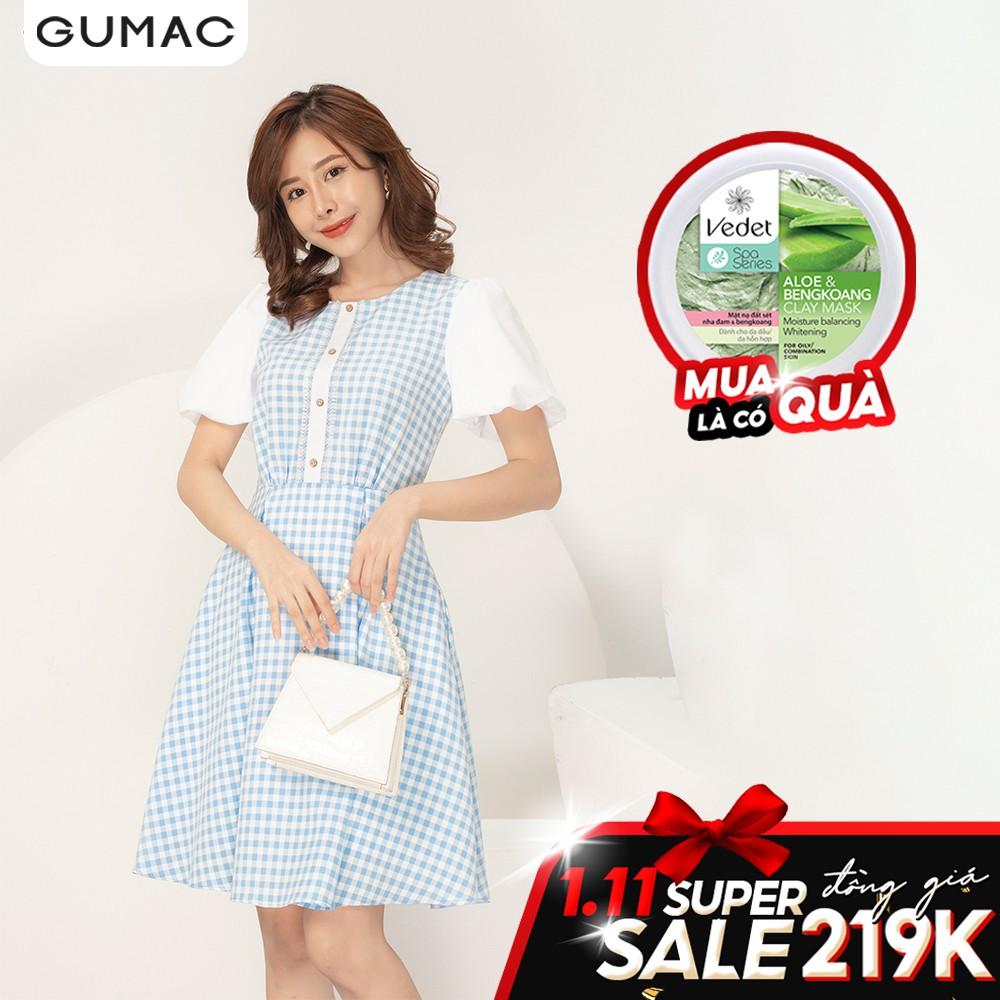 Đầm caro tay bí GUMAC DA929