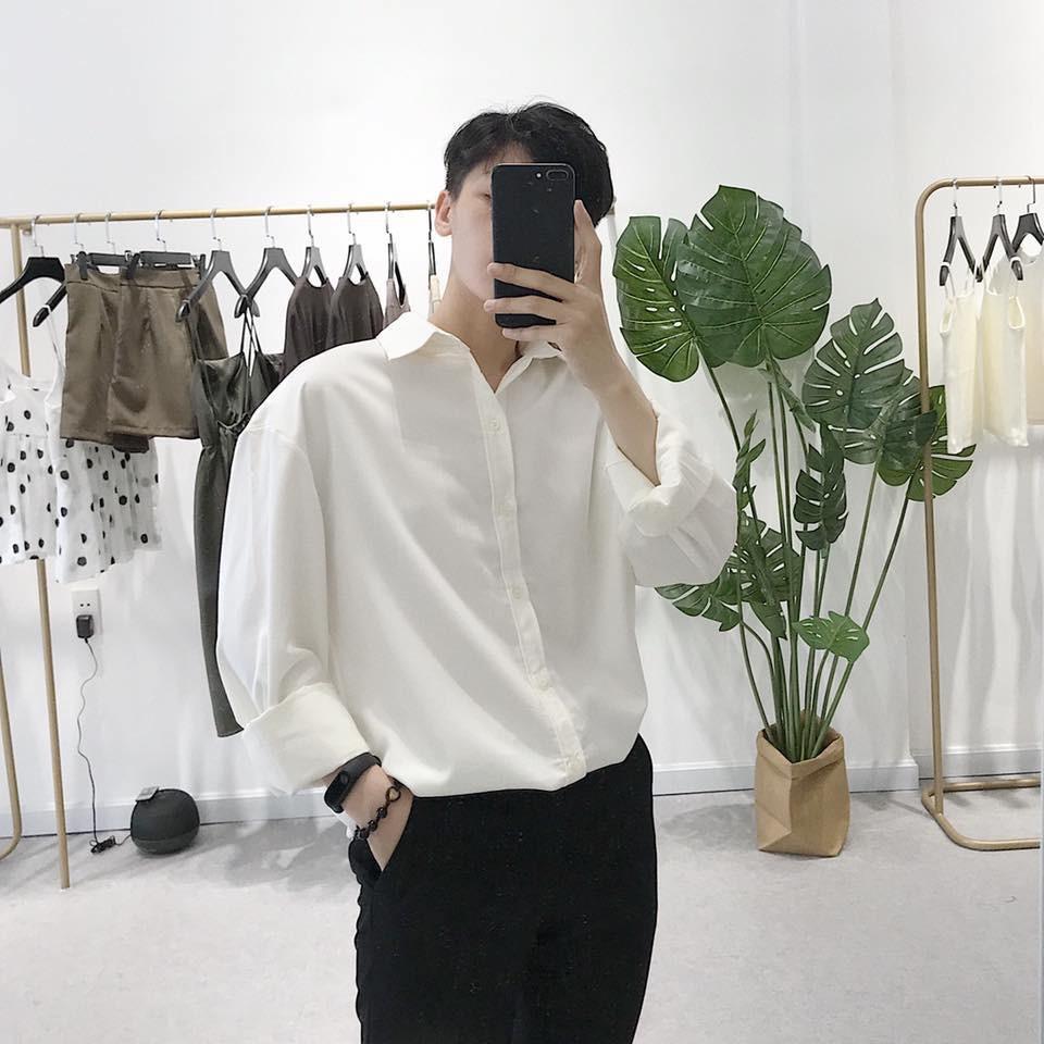 Áo sơ mi nam nữ trắng đen dài tay TRƠN không túi form rộng vải lụa mềm thấm hút | Tỉnh Lộ 10