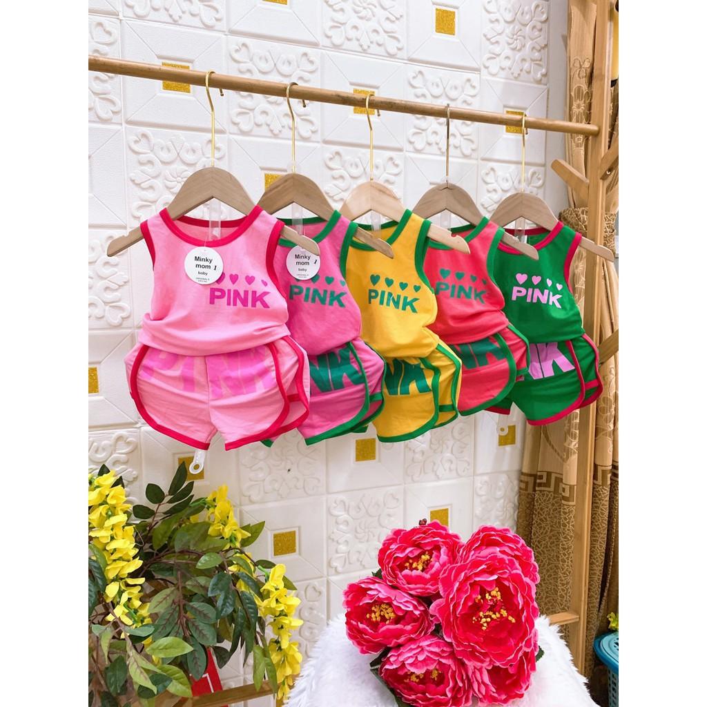 Bộ pink ba lỗ cotton đũi cho bé gái
