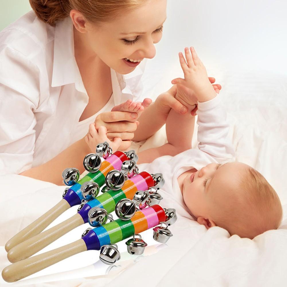 Baby Cute Rainbow Baby Toy Pram Crib Handle Wooden Bell Stick Shaker Rattle